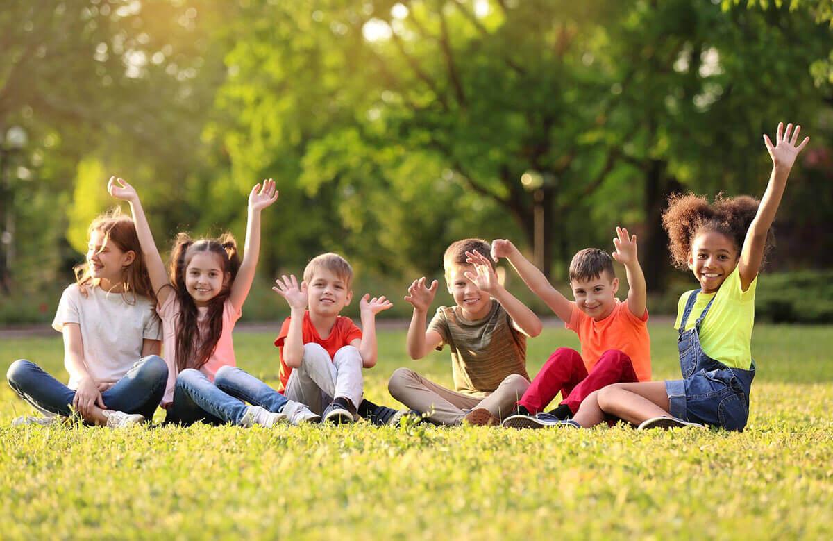 Photo of children in a field